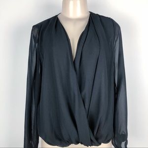 LIBERTY LOVE FOLDED FRONT SHEER BLOUSE